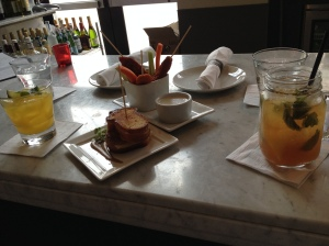 grilled cheese and dippers and cocktails