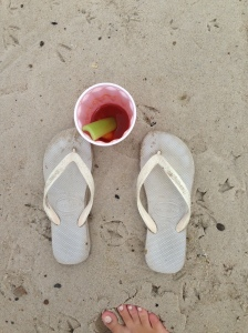 flip flops and bloody mary