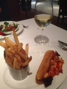 lobster roll and pinot served hot ct style