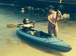 sisters in the kayak
