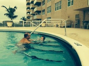 swimming with grandpa