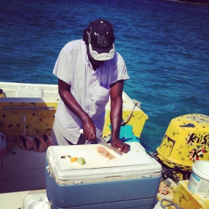 preparing the conch salad
