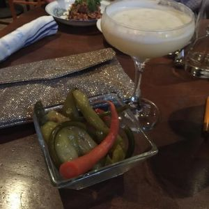 cocktail and pickles at millwrights